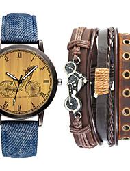 cheap -Men's Sport Watch Quartz Gift Set Leather Black / Blue / Beige No Chronograph Cute Creative Analog New Arrival Fashion - Black Blue Beige One Year Battery Life