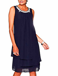 cheap -Women's 2020 Plus Size Going out Elegant Mini Chiffon Dress - Solid Colored Layered Summer Black Purple Navy Blue S M L XL