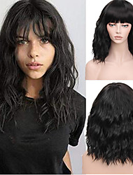 cheap -Synthetic Wig Natural Wave Beyonce Neat Bang Wig Medium Length Black#1B Synthetic Hair 16 inch Women's Adjustable Heat Resistant Easy dressing Black