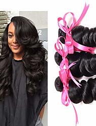 cheap -6 Bundles Brazilian Hair Loose Wave Virgin Human Hair Natural Color Hair Weaves / Hair Bulk Bundle Hair One Pack Solution 8-28 inch Natural Color Human Hair Weaves Odor Free Best Quality Hot Sale