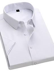 cheap -Men's Solid Colored Slim Shirt Basic Daily Classic Collar White / Black / Blue / Blushing Pink / Navy Blue / Short Sleeve