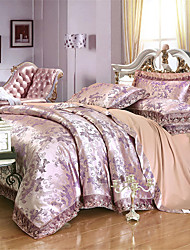 cheap -Duvet Cover Sets Luxury / Solid Colored Cotton Jacquard 4 PieceBedding Sets / 4pcs (1 Duvet Cover, 1 Flat Sheet, 2 Shams)