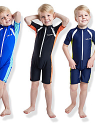 cheap -Boys' Girls' Rash Guard Dive Skin Suit Elastane Diving Suit UV Sun Protection Quick Dry Half Sleeve Front Zip - Swimming Diving Patchwork Autumn / Fall Spring Summer / High Elasticity / Kid's
