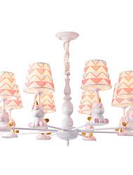 Недорогие -Люстра на 8 ламп / красивые подвесные светильники, окрашенные в белый цвет, отделка тканью для гостиной, детской комнаты, детской комнаты, 110-120 В / 220-240 / E26 E27 без лампы