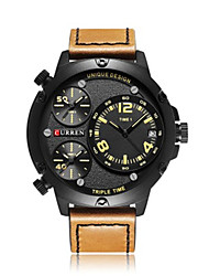 cheap -CURREN Men's Sport Watch Japanese Quartz Outdoor Water Resistant / Waterproof Genuine Leather Black / Brown / Grey Analog - Black / Red Black / Orange Orange / Calendar / date / day / Large Dial