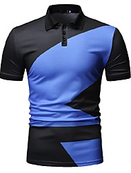cheap -Men's Color Block Black & White Print Polo Business Work Blue / Green