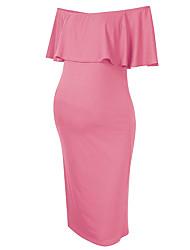 cheap -Women's Knee-length Maternity Blushing Pink Dress Basic Sheath Solid Colored L XL