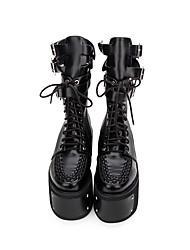 cheap -Women's Lolita Shoes Boots Punk Gothic Creepers Shoes Solid Colored 10 cm Black PU Leather Halloween Costumes