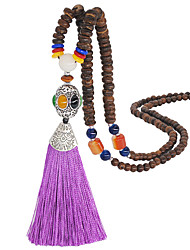 cheap -Women's Pink Multicolor Yellow Agate Long Necklace Tassel Buddha Boho Agate Alloy White Black Blue Purple Yellow 51-80 cm Necklace Jewelry For Wedding Gift Masquerade Prom Festival
