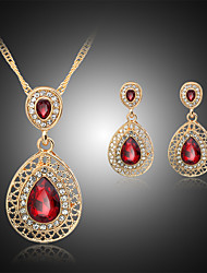 cheap -Women's Drop Earrings Pendant Necklace Hollow Out Pear Stylish Classic Rhinestone Gold Plated Earrings Jewelry Red / Blue For Daily Work 1 set