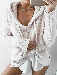 cheap -Women's Plus Size Hoodie Solid Colored Cute Street chic Hoodies Sweatshirts  Loose Wine White Black