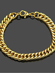 cheap -Men's Chain Bracelet Cut Out Weave Punk Rock 18K Gold Plated Bracelet Jewelry Gold For Daily Street