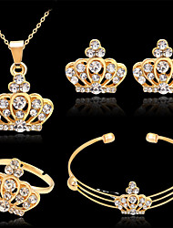 cheap -Women's Bracelet Bangles Stud Earrings Pendant Necklace Cut Out Crown Stylish Classic Rhinestone Gold Plated Earrings Jewelry Gold For Wedding Party 1 set / Open Ring