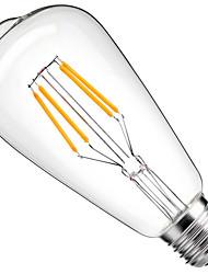 cheap -1pc 4 W LED Filament Bulbs 360 lm E26 / E27 ST64 4 LED Beads COB Decorative Warm White Cold White 220-240 V