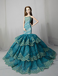 cheap -Doll Dress Party / Evening For Barbiedoll Floral Botanical Satin / Tulle Lace Satin Dress For Girl's Doll Toy