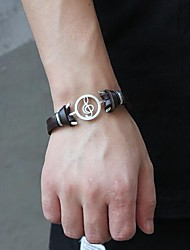 cheap -Men's Leather Bracelet Double Layered Music Notes Punk Leatherette Bracelet Jewelry Black / Brown For Daily