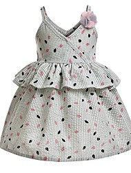 cheap -Kids Girls' Polka Dot Dress Beige