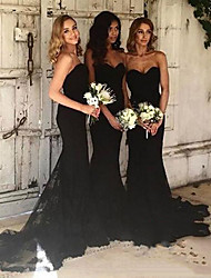 cheap -Mermaid / Trumpet Sweetheart Neckline Court Train Lace Bridesmaid Dress with Lace / Open Back
