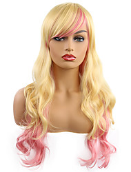 cheap -Cosplay Costume Wig Synthetic Wig Bangs Lolita Curly Side Part Wig Blonde Long Light golden Synthetic Hair 22 inch Women's Fashionable Design Party Women Blonde