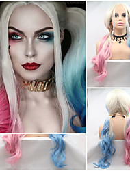 cheap -Synthetic Lace Front Wig Curly Matte With Ponytail Lace Front Wig Pink Long Pink+Red Sky Blue Synthetic Hair 24 inch Women's Cute Cosplay Women Blue Pink Sylvia