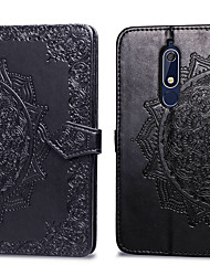 cheap -Case For Nokia Nokia 5.1 Card Holder / Flip Full Body Cases Solid Colored Hard PU Leather for Nokia 5.1