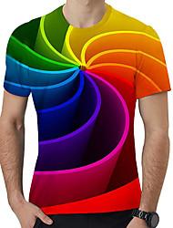 abordables -Tee-shirt Homme, Géométrique / 3D / Graphique Imprimé Rouge