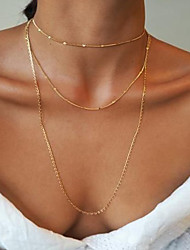 cheap -Women's Chain Necklace Layered Necklace Layered Simple Classic Vintage European Chrome Gold 70+5 cm Necklace Jewelry 3pcs For Daily School Holiday Work