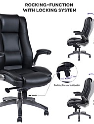cheap -VANBOW High Back Leather Office Chair - Adjustable Tilt Angle and Flip-up Arms Executive Computer Desk Chair Thick Padding for Comfort and Ergonomic Design...