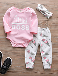 cheap -Baby Girls' Casual / Active Solid Colored / Print Print Long Sleeve Long Clothing Set Blushing Pink