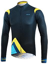 cheap -Arsuxeo Men's Long Sleeve Cycling Jersey Winter Blue+Yellow Bike Top Mountain Bike MTB Road Bike Cycling Back Pocket Sweat-wicking Sports Clothing Apparel / Micro-elastic / Triathlon / Italian Ink