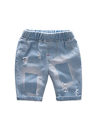 cheap -Kids Boys' Basic Street chic Solid Colored Hole Ripped Print Cotton Jeans Blue