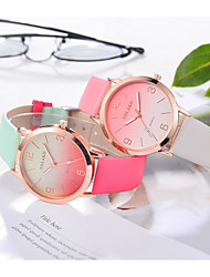 cheap -Women's Quartz Watches Fashion Colorful Black White Pink PU Leather Quartz Blushing Pink Purple Black+White Color Gradient Lovely 1 pc Analog One Year Battery Life / Stainless Steel