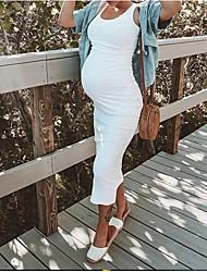 cheap -Women's Maternity Street chic Knee-length Shift Dress Black White Blushing Pink S M L XL