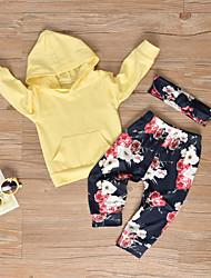 abordables -bébé Fille Simple / Actif Couleur Pleine / Fleur Manches Longues Normal Coton Ensemble de Vêtements Jaune / Bébé