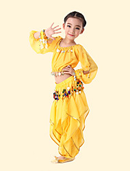 cheap -Belly Dance / Kids' Dancewear Outfits Girls' Training / Performance Elastane Silver Coin / Gore Long Sleeve Top
