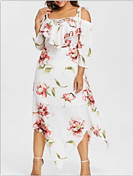 cheap -Women's Plus Size Boho Punk & Gothic Shift Swing Dress - Floral Geometric Lace up Patchwork Print V Neck Black White XL XXL XXXL XXXXL