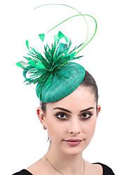 cheap -Net / Linen / Cotton Blend Fascinators / Flowers / Headdress with Feather / Floral 1 Wedding / Party / Evening Headpiece