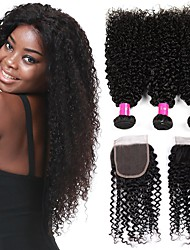 cheap -3 Bundles with Closure Brazilian Hair Kinky Curly Virgin Human Hair Natural Color Hair Weaves / Hair Bulk Bundle Hair One Pack Solution 8-28 inch Natural Color Human Hair Weaves Newborn Cosplay Hot