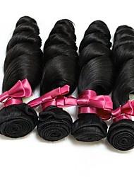 Недорогие -4 Связки Бразильские волосы Свободные волны человеческие волосы Remy 400 g Человека ткет Волосы Пучок волос Накладки из натуральных волос 8-28 дюймовый Естественный цвет Ткет человеческих волос