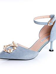 cheap -Women's PU(Polyurethane) Spring &  Fall Sweet / Minimalism Heels Kitten Heel Pointed Toe Imitation Pearl / Buckle Black / Light Blue