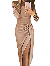 cheap -Women's Asymmetrical Bodycon Dress - Long Sleeve Solid Color Pleated Patchwork Asymmetric Spring & Summer Off Shoulder Sexy Cocktail Party New Year Going out Off Shoulder Black Red Blushing Pink Gold