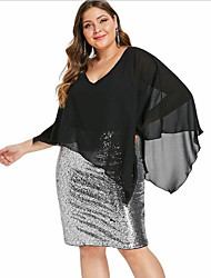 cheap -Women's Plus Size Bodycon Dress - 3/4 Length Sleeve Color Block Solid Colored Sequins Patchwork Wrap Deep V Elegant Cocktail Party Slim Black XL XXL XXXL XXXXL XXXXXL