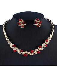 cheap -Women's Black Red White Bridal Jewelry Sets Link / Chain Leaf Botanical Stylish Simple Rhinestone Earrings Jewelry White / Black / Red For Wedding Party Engagement Gift 1 set