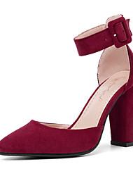cheap -Women's PU(Polyurethane) Summer British / Minimalism Heels Chunky Heel Pointed Toe Red / Wine / Almond / Party & Evening