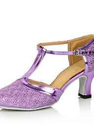 cheap -Women's Dance Shoes Modern Shoes Ballroom Shoes Line Dance Heel Cuban Heel Silver Gray Black / Gold Purple / Performance / Practice