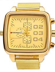 Недорогие -SHI WEI BAO Муж. Армейские часы Кварцевый Нержавеющая сталь Золотистый Крупный циферблат Аналоговый Винтаж Мода - Золотистый Один год Срок службы батареи