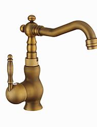 cheap -Kitchen faucet - Single Handle One Hole Antique Copper Standard Spout Centerset Contemporary / Antique Kitchen Taps