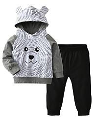 cheap -Baby Boys' Casual / Active Print / Color Block / Patchwork Patchwork / Print Long Sleeve Regular Regular Clothing Set Gray