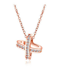 cheap -Women's Clear White Cubic Zirconia Charm Necklace Geometrical Star Fashion Brass Gold Plated Imitation Diamond White Rose Gold 40 cm Necklace Jewelry 1pc For Gift Daily