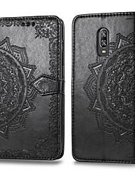 Недорогие -Кейс для Назначение OnePlus One Plus 6T Бумажник для карт / Флип Чехол Однотонный Твердый Кожа PU